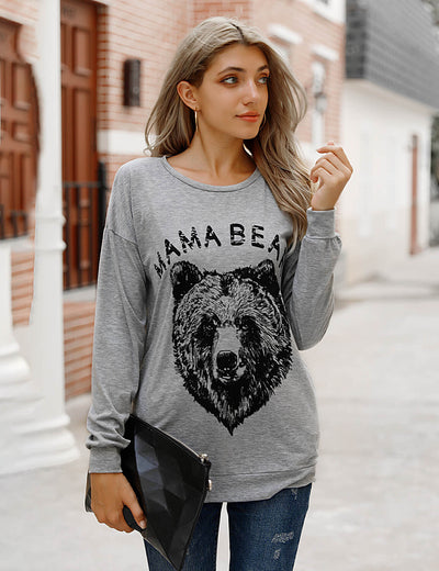 Blooming Jelly_Mama Bear Print Loose T-Shirt with Pockets_Gray_154197_08_Women Autumn&Winter Casual Outfits_Tops_T-Shirt