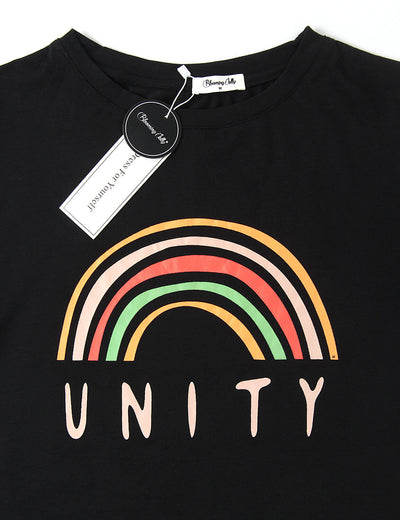 Blooming Jelly_Rainbow Unity Letter Print Graphic T-Shirt_Letter Printed_154236_02_Women Fashion Summer Outfits_Tops_T-Shirt