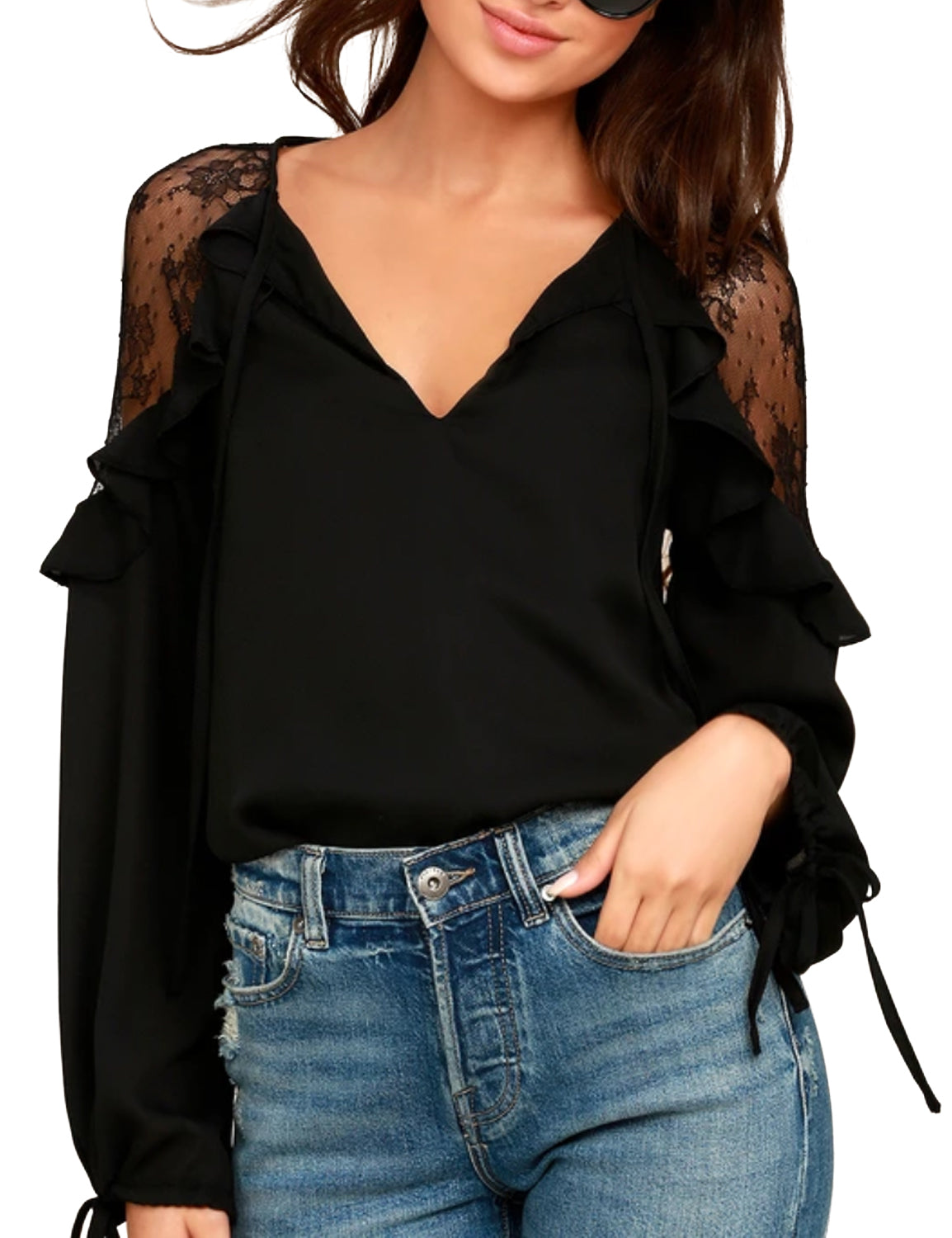 Lace V Neck Butterfly Sleeve Chiffon Blouse
