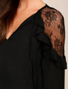 Blooming Jelly_Lace V Neck Butterfly Sleeve Chiffon Blouse_Black_155014_02_Elegant Spring&Autumn Outdoor_Tops_Blouse