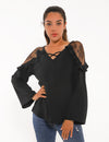 Blooming Jelly_Sweet Love Lace Panel Flouncing Blouse_Black_155017_02_Women Elegant Daily Wear_Tops_Blouse
