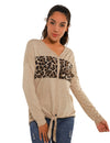 Blooming Jelly_Drop Shoulder Leopard Patchwork Button Blouse_Leopard Patchwork_155165_31_Women Outdoor Casual_Tops_Blouse