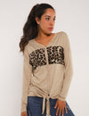 Drop Shoulder Leopard Patchwork Button Blouse - Blooming Jelly