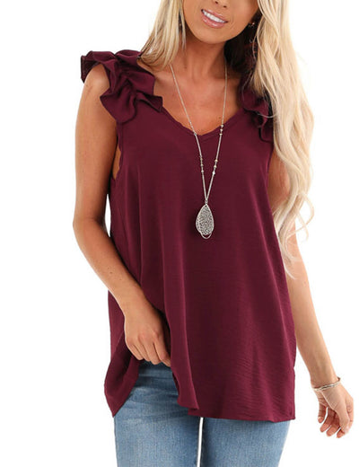 Blooming Jelly_Sleeveless Flounced Burgundy Blouse Tunic Top_Burgundy_155244_27_Women Casual Summer Fashion_Tops_Blouse