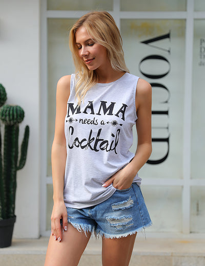 Mama Needs A Cocktail Print Soft Tank Top - Blooming Jelly