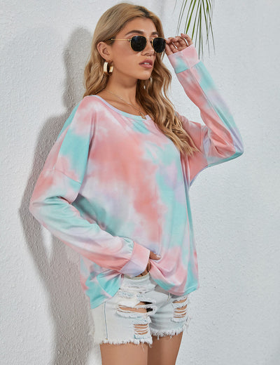 Blooming Jelly_Chic Girl Round Neck Tie Dye T-Shirt_Tie Dye Print_155288_14_Street Style Women Fashion Outfits_Tops_T-Shirt