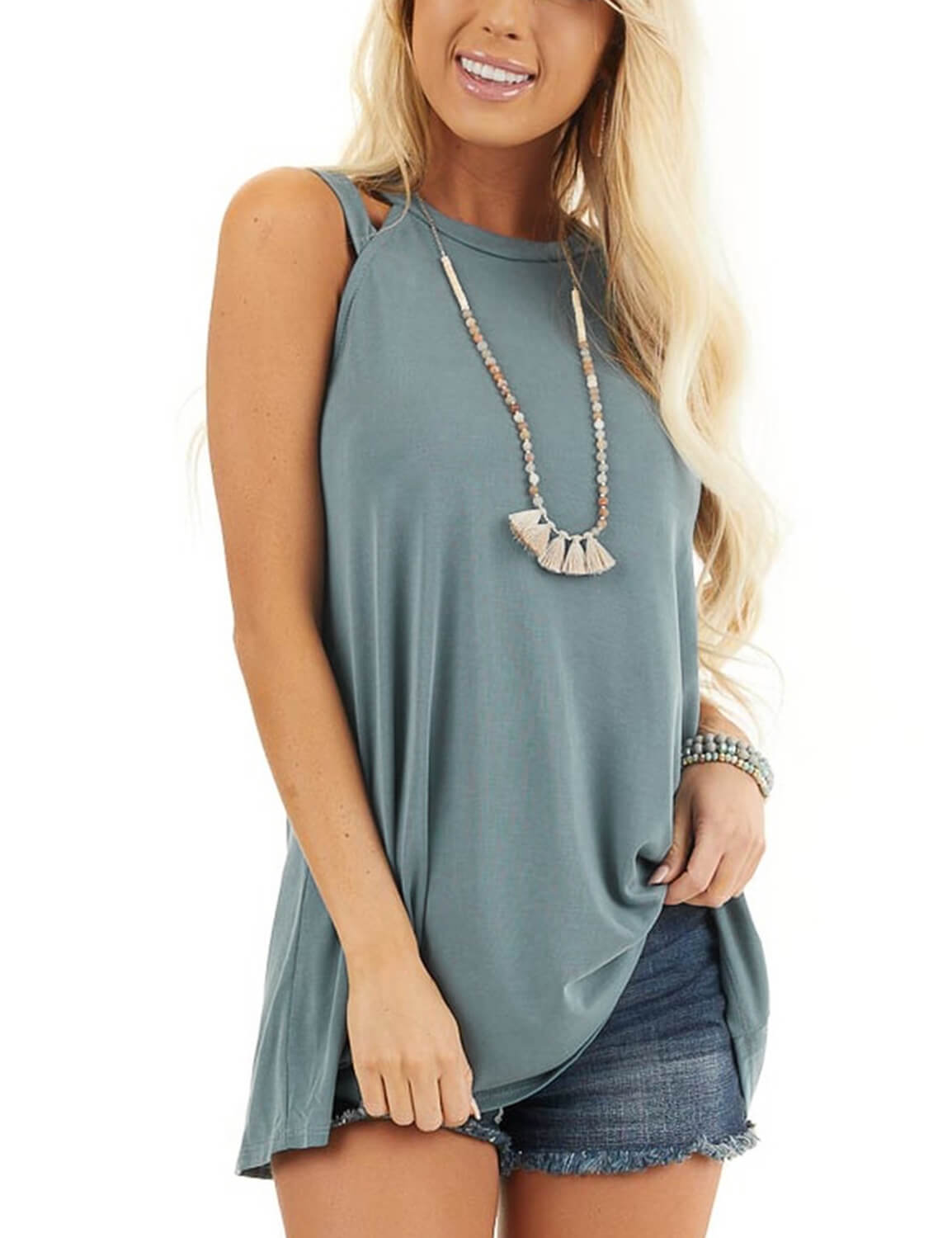 Blooming Jelly_Cutout Tunic Sleeveless Tank Top_Steel Blue_155359_02_Summer Women Casual Outfits_Tops_Blouse
