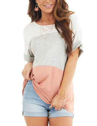 Blooming Jelly_Contrast Color Stripe Loose T-Shirt_Color Block_155369_29_Summer Casual Daily Wear Outfits_Tops_T-Shirt