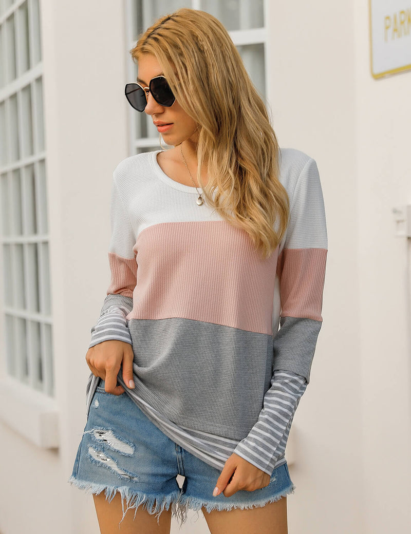 Loose Stripe Color Block Waffle T-Shirt