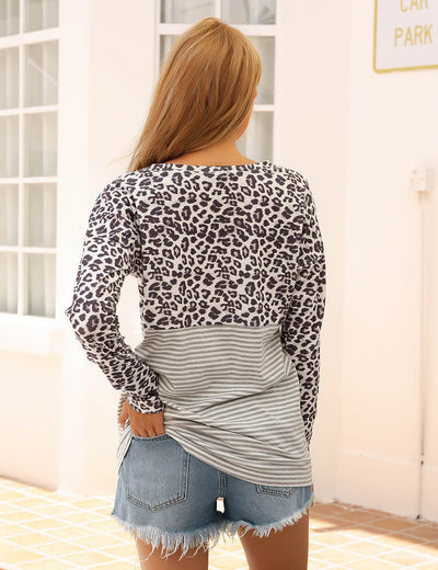 Blooming Jelly_Leopard Stripe Patchwork T-Shirt_Leopard&Stripes Patchwork_155508_22_Women Casual Outfits_Tops_T-Shirt