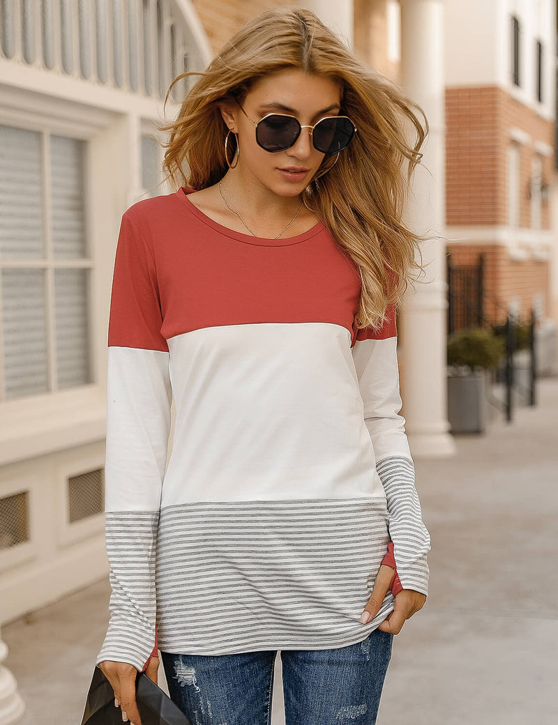 Stripe Color Block Long Sleeve T-Shirt