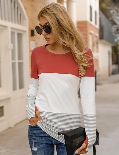 Blooming Jelly_Stripe Color Block Long Sleeve T-Shirt_Contrast Color Stripes_155535_13_2020 Women Casual Outfits_Tops_T-Shirt