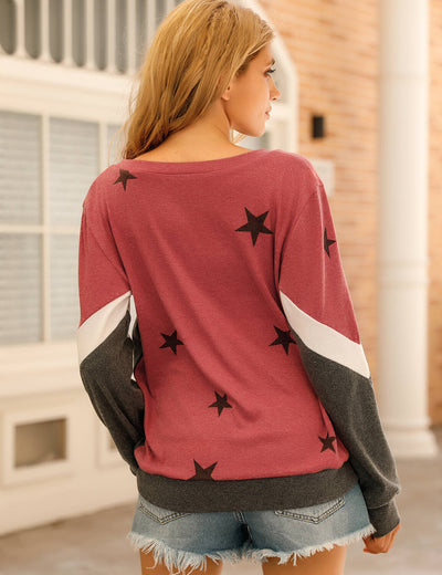 Blooming Jelly_Casual Chic Stars Color Block Sweatshirt_Contrast Color_155543_17_Women Cozy Loose Outfits_Tops_Sweatshirt