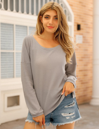 Blooming Jelly_Knitted One Shoulder Long Sleeve T-Shirt_Gray_155554_07_Women Casual Outfits_Tops_T-Shirt