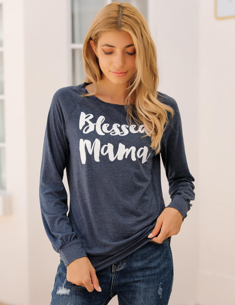 Blooming Jelly_Blessed Mama Long Sleeve T-Shirt_Letter Print_155556_30_Mom Style Casual Outfits_Tops_T-Shirt