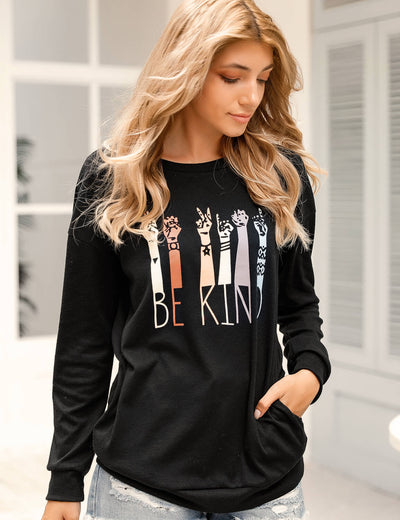 Blooming Jelly_Be Kind Diversity Graphic Tee with Pocket_Letter Print_155596_02_Women Cozy Loose Outfits_Tops_T-Shirt