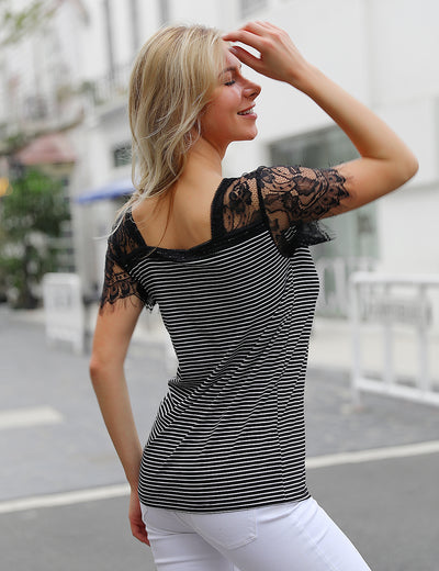 Urban Chic V Neck Lace Patchwork Chiffon Blouse