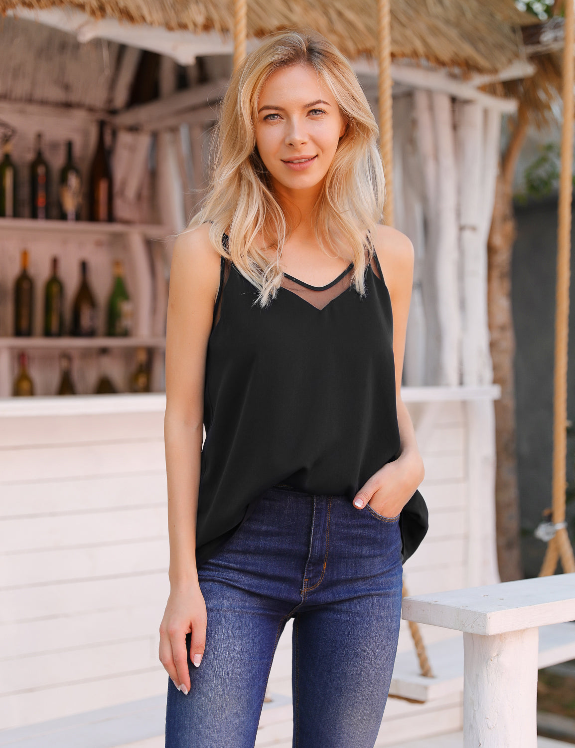 Adore You Loose Blouse Comfy Black Cami Top - Blooming Jelly