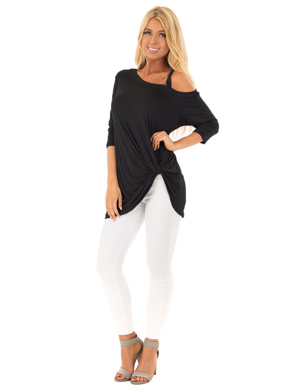 Dolman One Shoulder Tie Front Knot Top