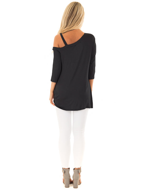 Dolman One Shoulder Tie Front Knot Top - Blooming Jelly