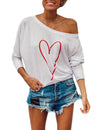 One Shoulder Oversized Dolman Graffiti Heart Top - Blooming Jelly