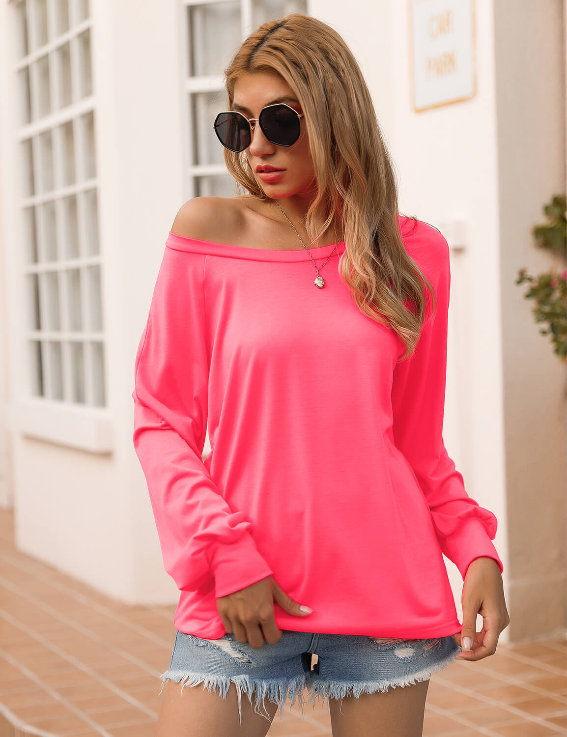 Blooming Jelly_Bright Rose Cold Shoulder T-Shirt_Deep Pink_153132_78_Streetwear Fashion Women Outfits_Tops_T-Shirt