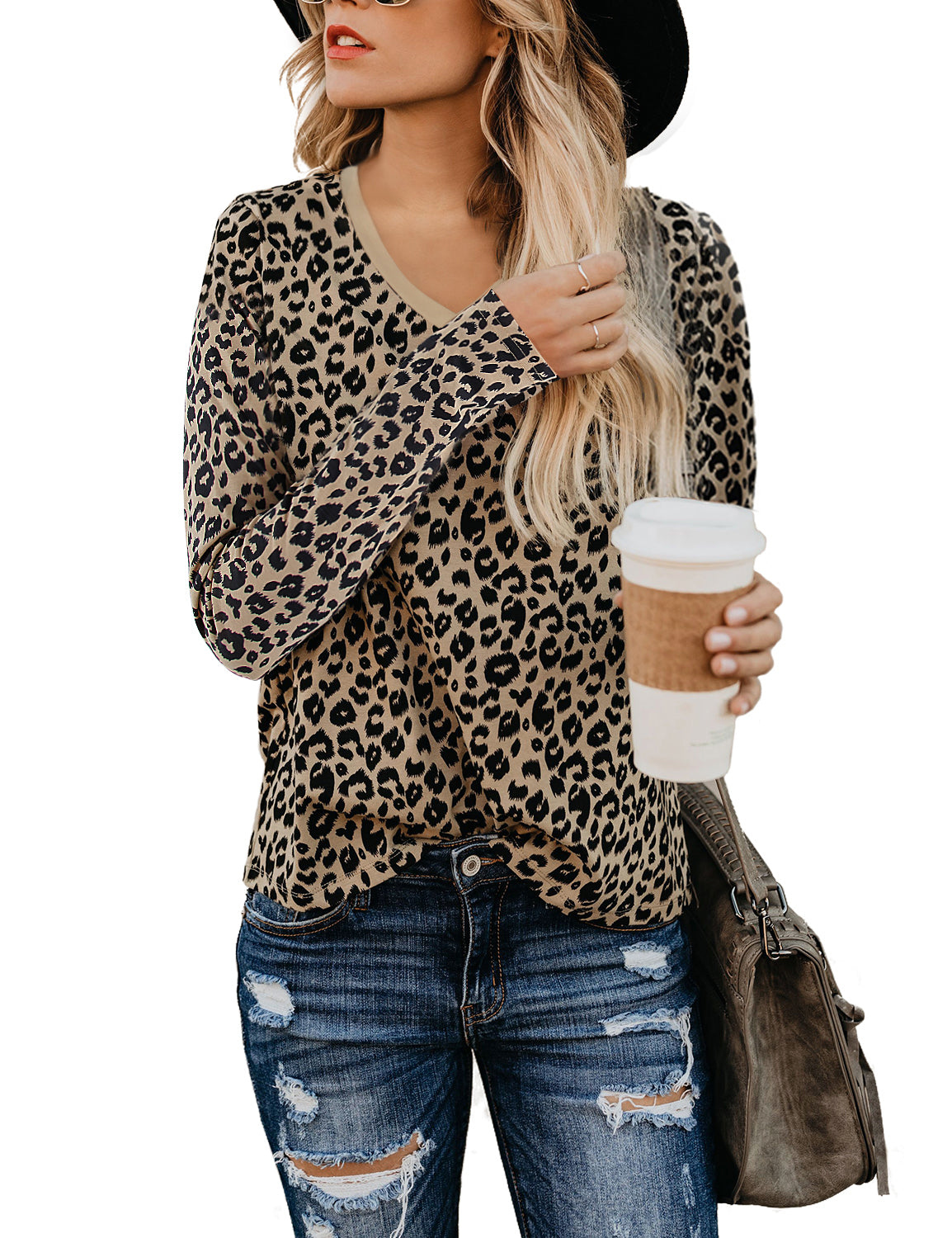 Leopard Print V Neck Long Sleeve T-Shirt