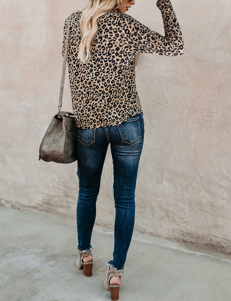 Leopard Print V Neck Long Sleeve T-Shirt - Blooming Jelly