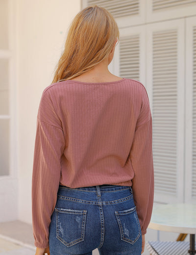 Blooming Jelly_Casual Chic Ribbed Blouse_Pale Violet Red_156221_15_Women Fashion Look_Tops_Blouse