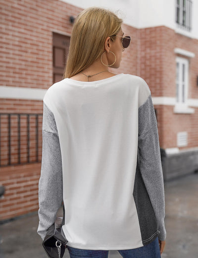Blooming Jelly_Comfy Color Block Long Sleeve Top_Contrast Color_156228_21_Street Style Women Fashion Outfits_Tops_T-Shirt