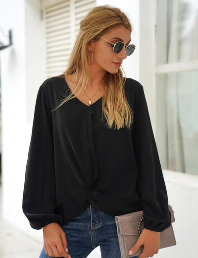 Blooming Jelly_Street Style Puff Sleeve Black Blouse_Black_156254_02_Stylish Women Casual Outfits_Tops_Blouse