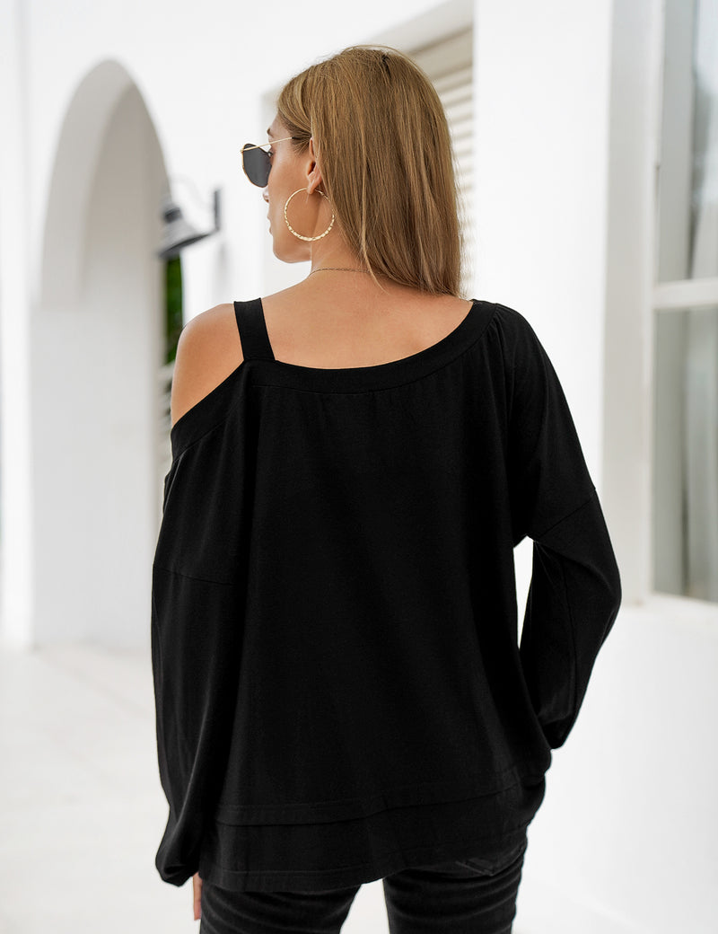 Blooming Jelly_Oversized Cold Shoulder Black Blouse_Black_156258_02_Stylish Women Casual Outfits_Tops_Blouse