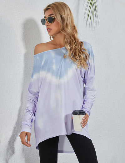 Blooming Jelly_One Shoulder Purple Tie Dye Tunic Top_Tie Dye Print_156277_21_Street Style Women Fashion Outfits_Tops_T-Shirt