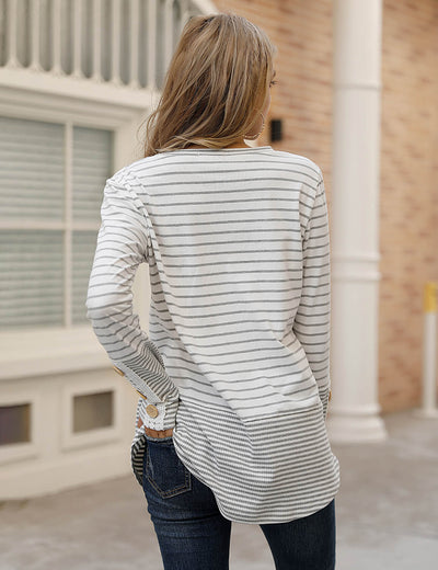 Blooming Jelly_Lace Stripe Long Sleeve Tunic Top_Stripe Patchwork_157006_25_Women Loose Outfits_Tops_T-Shirt