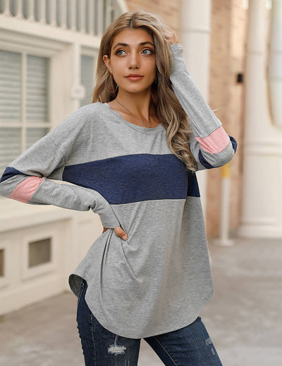 Blooming Jelly_Loose Color Block Long Sleeve T-Shirt_Contrast Color_157020_07_Women Loose Outfits_Tops_T-Shirt