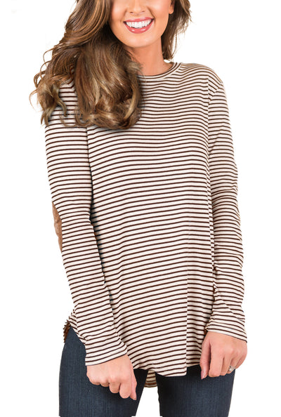 Blooming Jelly_Casual Striped Elbow Patch Tunic Top_Saddle Brown Striped_153121_19_Women Fashion Autumn&Winter_Tops_Blouse