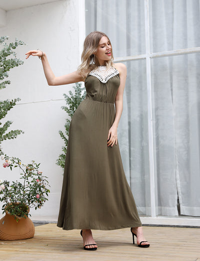 Elegant Lace Patchwork Maxi Dress - Blooming Jelly