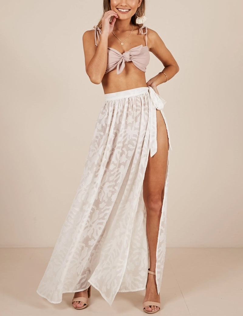 Gorgeous Beauty Silk Lace Long Wrap Skirt - Blooming Jelly