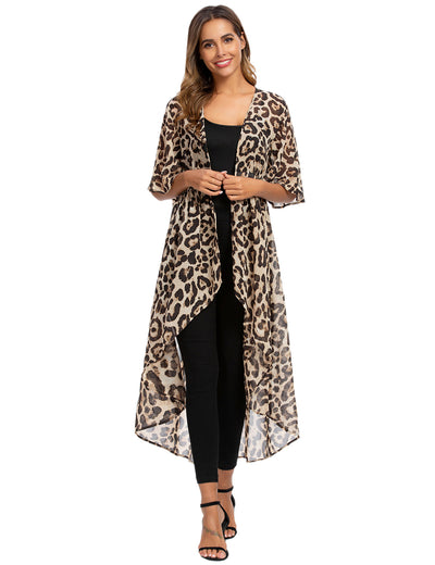 Urban Chic Leopard Long Chiffon Cover Up - Blooming Jelly