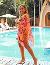 Colorful Butterfly Floral Tassel Cover Up - Blooming Jelly