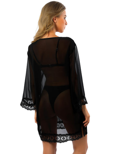 Blooming Jelly_See Through Sheer Lace Beachwear Cover Up_Pure Black_186001_02_Embroidered Loose Women Kimono_Swimsuit_Cover Up