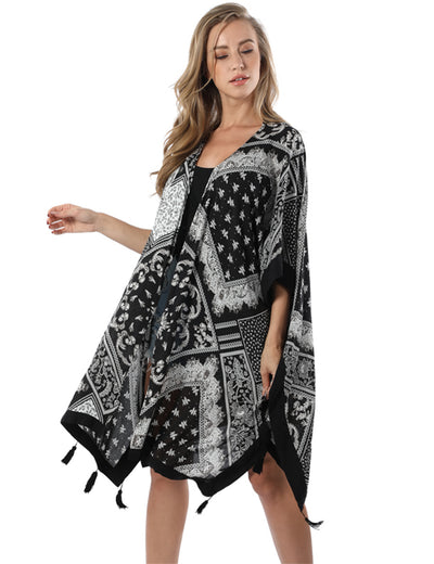 Bohemian Style Relaxed Free Size Kimono Cover Up - Blooming Jelly