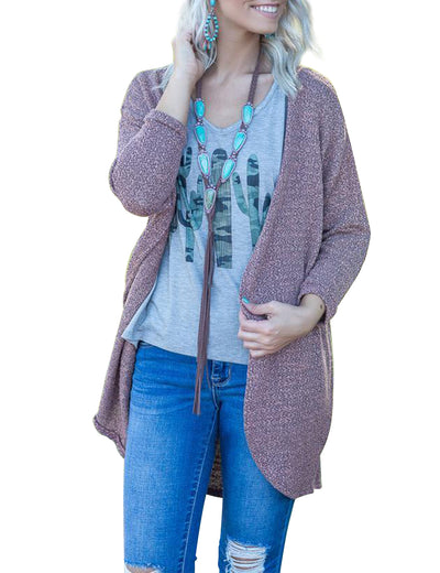 Blooming Jelly_Home Life Open Front Casual Cardigan_Rosy Brown_295002_33_Open Front Indoor&Outdoor Daily Wear_Tops_Cardigan