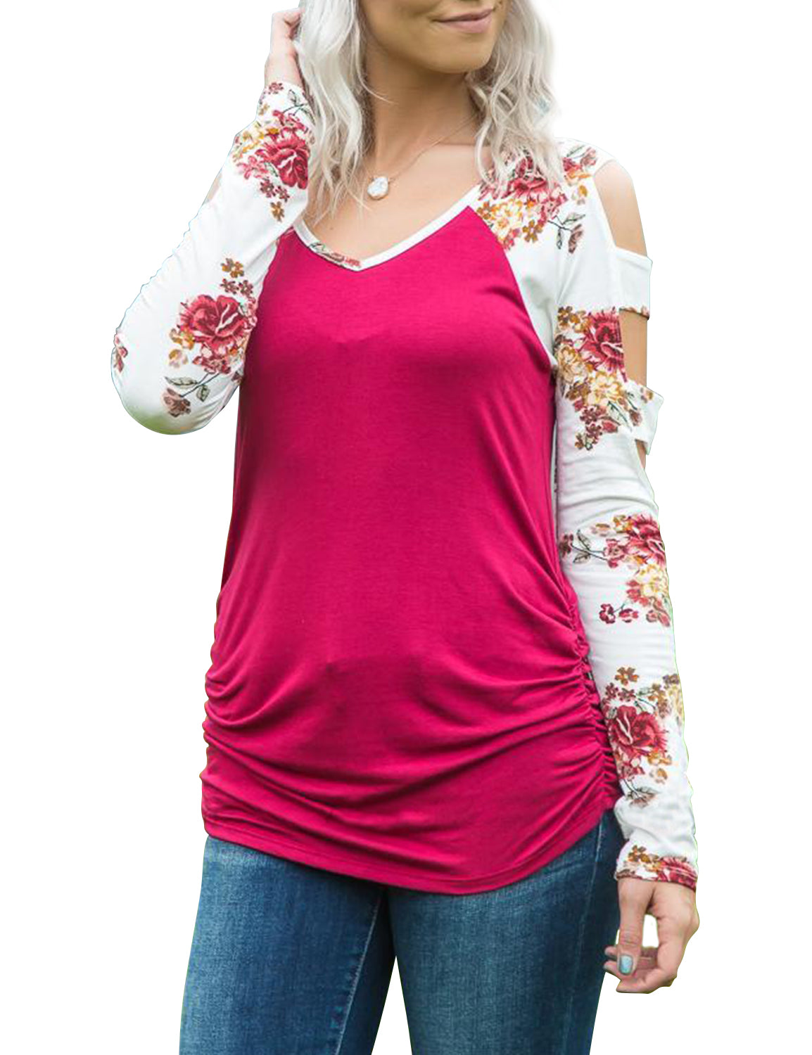 Floral Flower Printed Hollowed Out Shoulder Blouse - Blooming Jelly