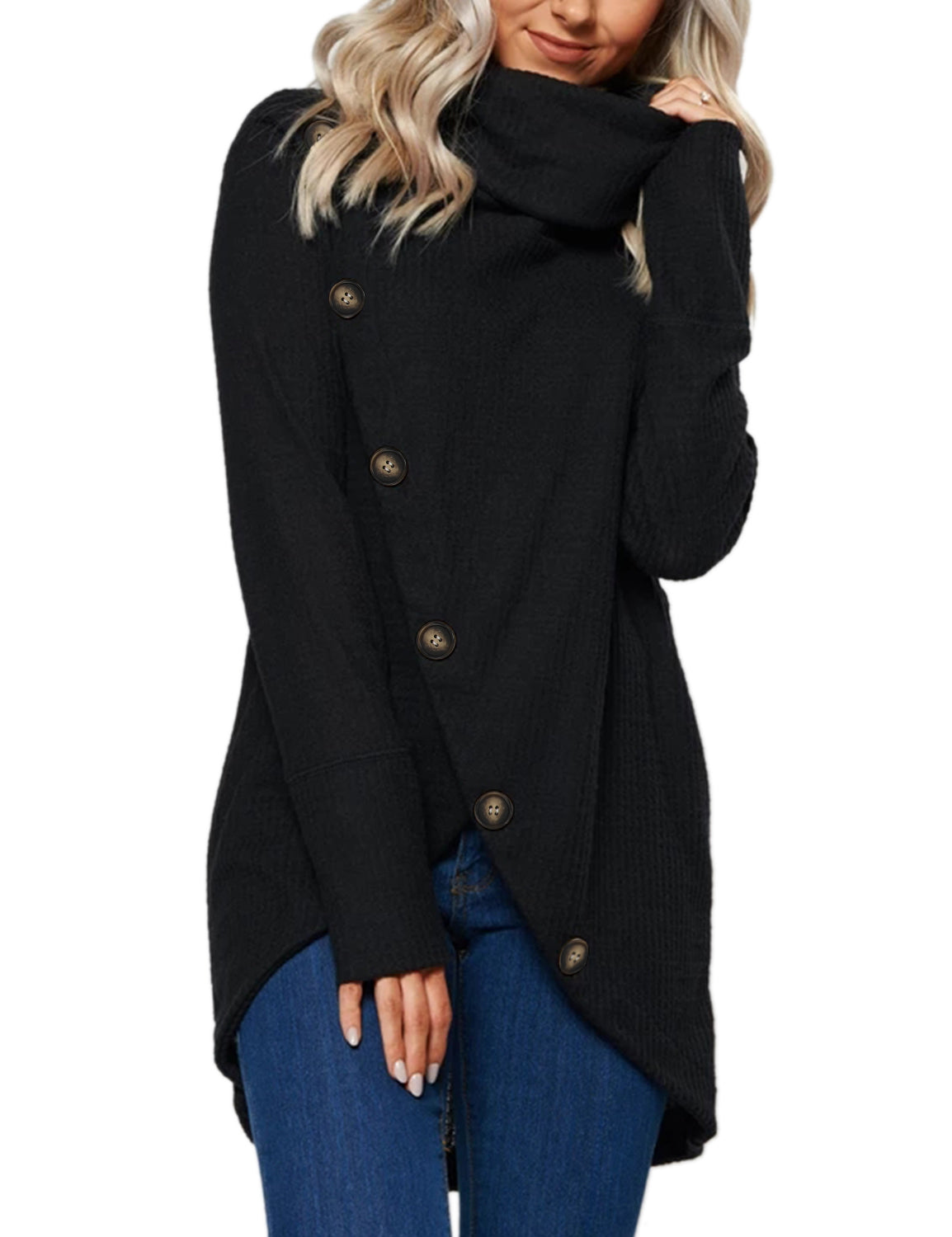 Blooming Jelly_Asymmetric Turtle Neck Button Up Wrap Sweater_Black_292042_02_Comfy Women Daily Wear_Tops_Sweater