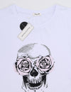 Punk Style Skull with Rose Print T-Shirt - Blooming Jelly