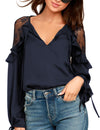 Blooming Jelly_Lace V Neck Butterfly Sleeve Chiffon Blouse_Navy_155014_30_Elegant Spring&Autumn Outdoor_Tops_Blouse