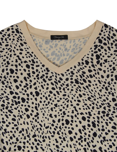 V Neck Leopard Loose T-Shirt