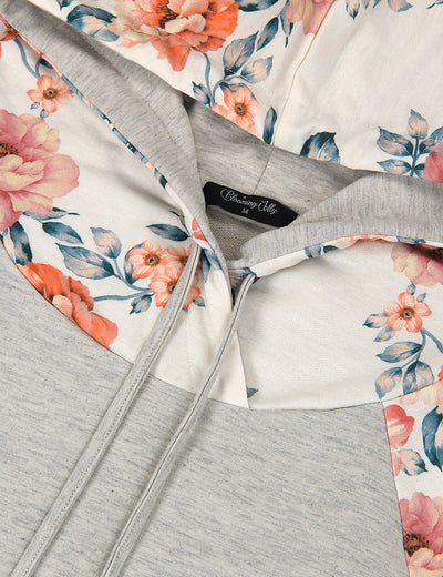Drawstring Floral Patchwork Casual Hoodie