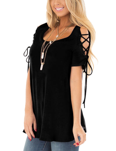 Round Neck Lace Up Sleeve Top Loose Blouse